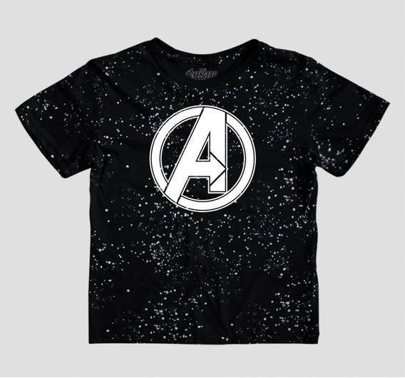 Playera Mascara De Latex Avengers Space Logo Mlmv Niño