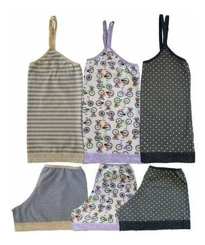 Kit 3 Pijamas Femininos Short Doll Cotton Algodão Pijama