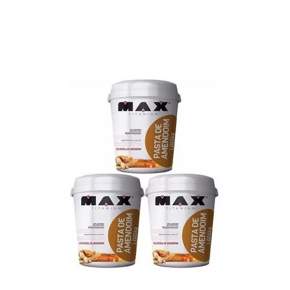 Kit 3x Pasta Amendoim Integral 1kg - Max Titanium