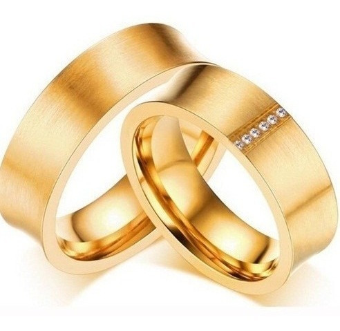Par Aliança Banhado Ouro Elegante Romântica União Love