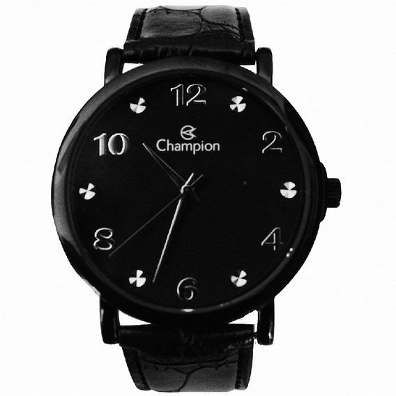 Relógio Champion Unissex Preto Pulseira Couro Cn20659n