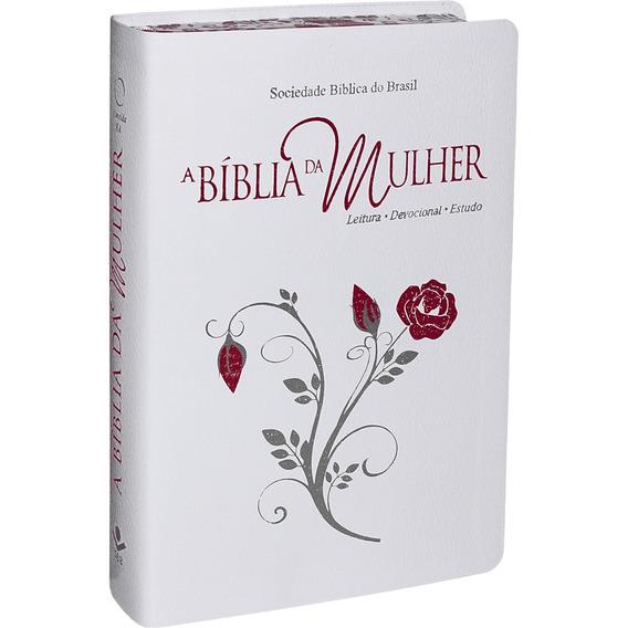 Bíblia Da Mulher Grande Ra Capa Branca Beiras Floridas
