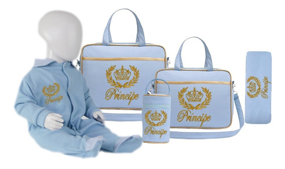 Kit Bolsa Saída Maternidade Principe Princesa + Macacão