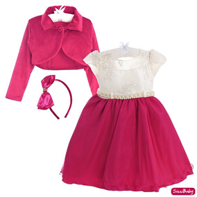 Vestido Infantil Luxo Princesa Rosa Barbie Bolero E Tiara