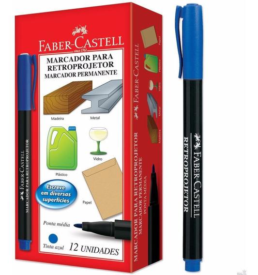 Caneta Para Retroprojetor Cd Dvd Blu-ray Faber Castell 12 Pç