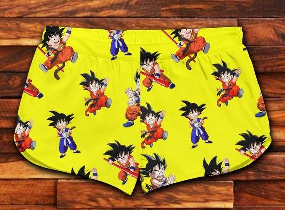 Short Feminino Moda Praia Patricinha Goku Drangon Ball Ref28