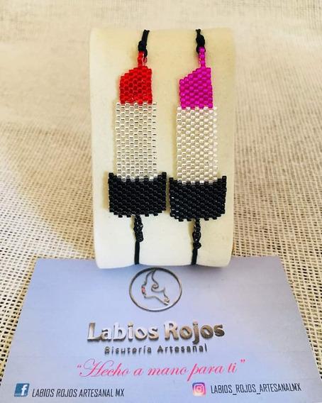 Brazalete Diseño Lipstick Labial En Miyuki Moda Artesanal