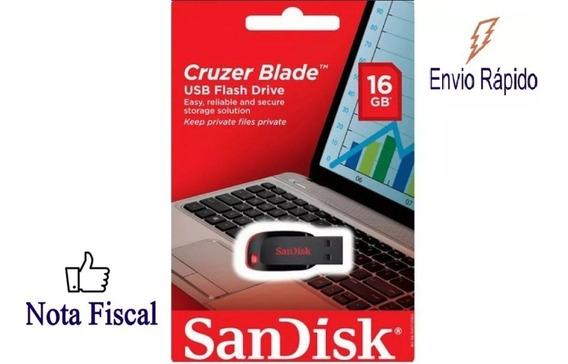 Kit Com 10 Pen Drive 16gb Sandisk Cruzer Blade Original Lacrado Nota Fiscal
