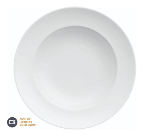 Imagem 1 de 9 de 04 Pratos Para Risoto Massas Porcelana Branca 24 Cm Germer