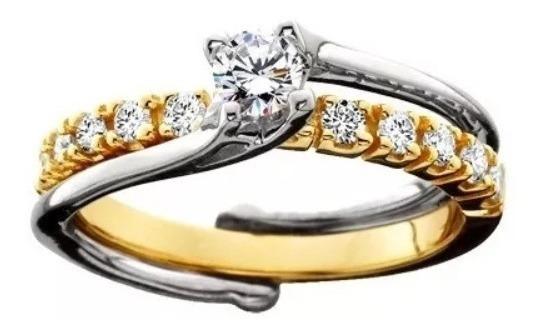Solitário Bicolor De Ouro 18k E Diamante De 20 Pontos