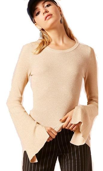 Sweater Forever 21 Beige Lurex Dorado