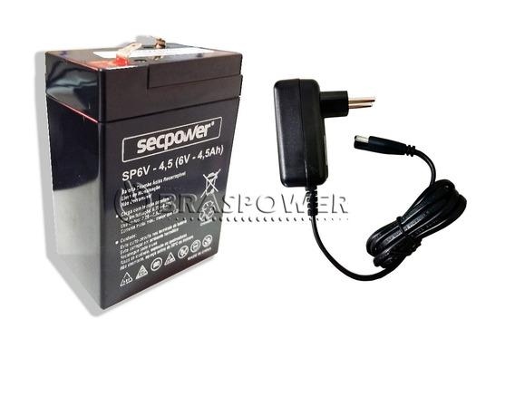 Kit Bateria 6v 4,5ah + Carregador - Moto Elétrica, Brinquedo