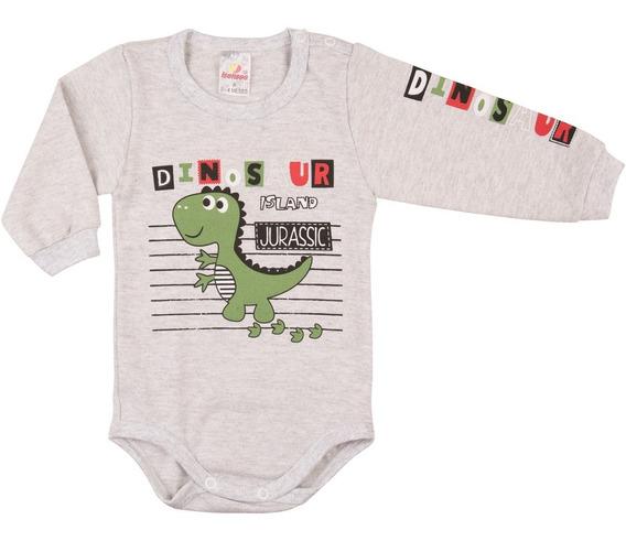 Roupa Bebê Menino Body Longo De Suedine Inverno Isensee Dino
