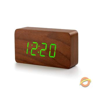 Reloj Despertador Madera Led Temperatura Fecha Alarmas Usb