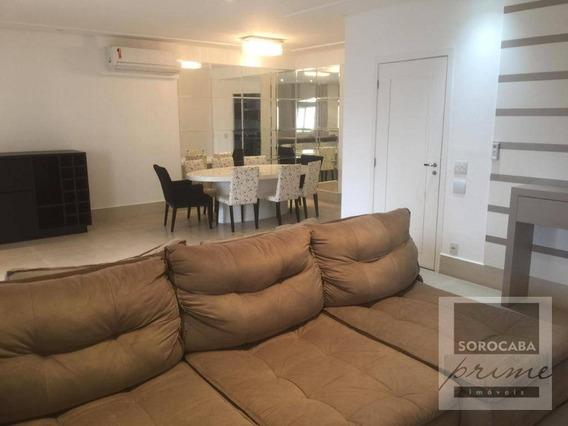 Apartamento Com 3 Suítes Para Alugar, 196 M² Por R$ 5.490,00/mês - Condomínio Único Campolim - Sorocaba/sp, Apartamento Mobiliado Próximo Ao Walmart - Ap0173