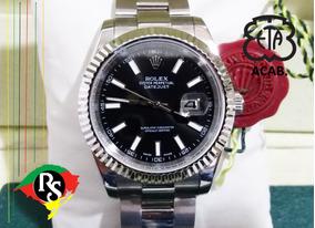 Relógio Datejust 41mm Preto Aço Palito Safira Automático Top