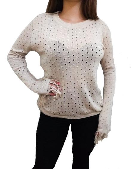 Blusa Sweater Buzo Calado Manga Oxford Amplio Mujer