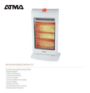 Calefactor Halogeno 1400w Atma Ch1616e