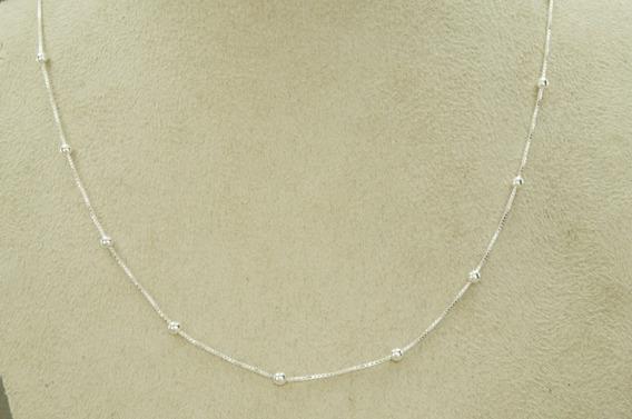Corrente Veneziana Bola Bolinha 70 Cm (g4,2) Prata 925
