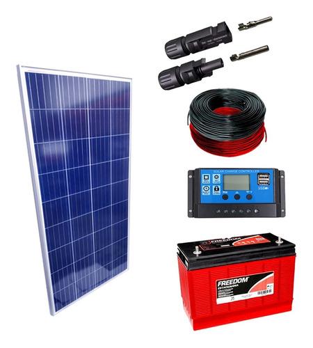 Kit Placa Solar 150w Controlador 20a Lcd Bateria 115ah Cabos