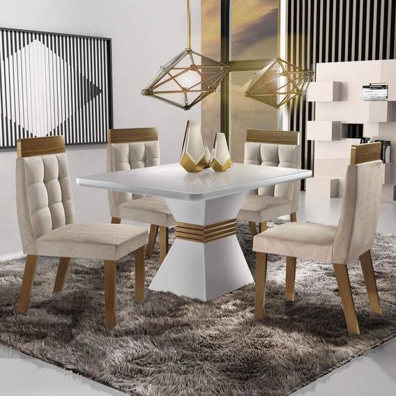 Conjunto Sala De Jantar 4 Cadeiras Cronos Siena Móveis