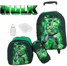 Kit Mochila Infantil Escolar Rodinha Incrivel Hulk Jr