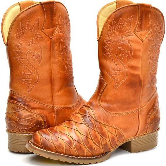 Bota Texana Country Casco Tatu Cano Alto Couro Promoção