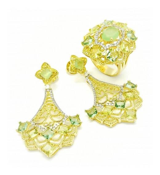 Anel E Brincos Cristal Verde Peridoto Banho Ouro 3684 3685