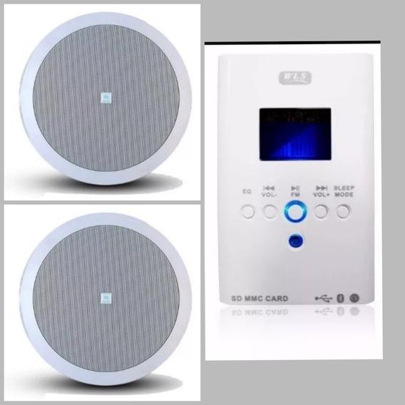 Som Ambiente Amplificador Parede Wls + 2 Caixas Embutir Jbl