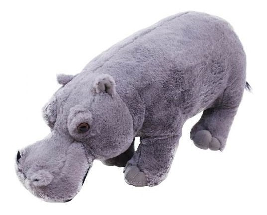 Hipopótamo Cinza De Pé 45cm - Pelúcia
