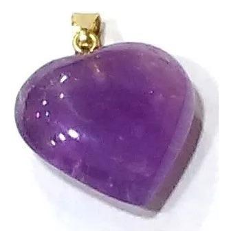 Pingente Coração Com Pedra Ametista 2,5cm Folheado Ouro Pc02