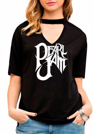 Blusa Feminina Choker Pearl Jam Show Live