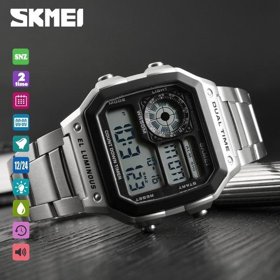 Relógio Masculino Retro Skmei 1335 Original Digital Aço Inox
