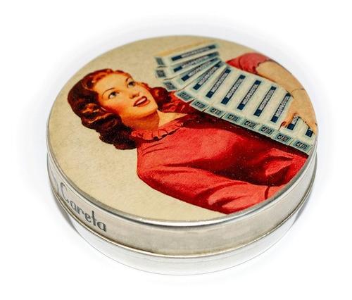 Imagen 1 de 3 de Pastillero Metálico Multiuso Lata Mujer 60 Misopros
