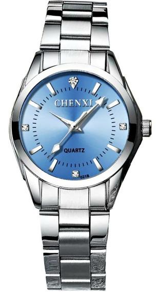 Relógio Feminino Pequeno Prata Aço Inox Azul