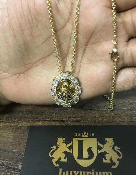 Cordão Elo Potugues 50cm + Pingente Banhado Á Ouro