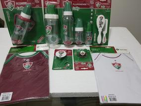 Kit Mamadeira Fluminense Chupeta Saboneteira Chocalho Bebe
