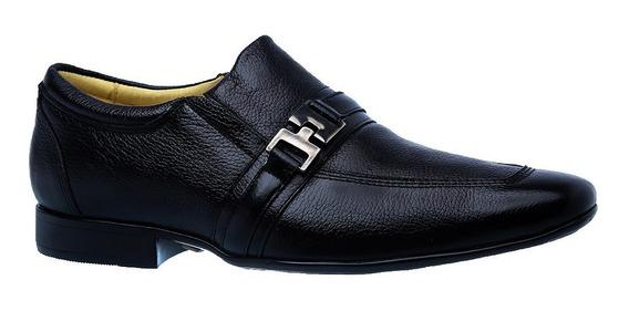 Sapato Masculino Em Couro Preto Floater 3045 Doctor Shoes