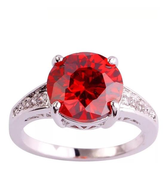 Anel Folheado Ouro Branco Pedra Rubi Vermelho Lindo