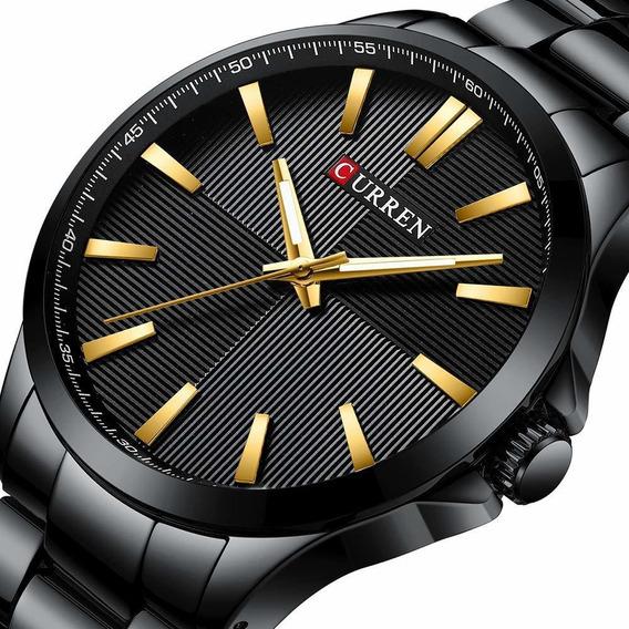 Relógio Masculino Luxo Dourado Original Resistente A Água