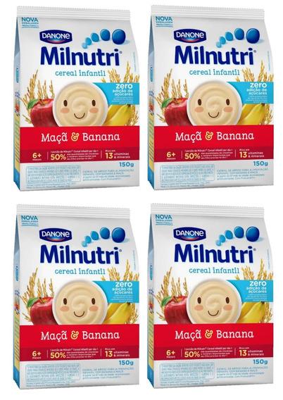 Kit 4 Cereal Milnutri Banana E Maçã Zero Açúcar - 150g Cada