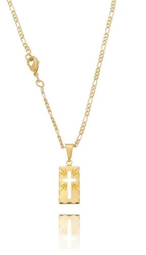 Corrente Masculina 3x1 Banhada Ouro Cordao Ping Placa Cruz