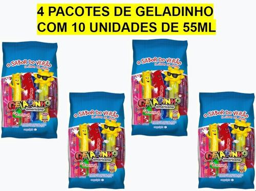Kit C/4 Pcts De Geladinho Americano Buschle - 10 Unids X55ml