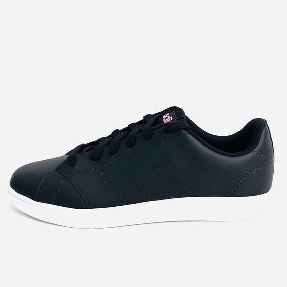 Tênis adidas Advantage Clean W Preto Faixa Rosa Feminino