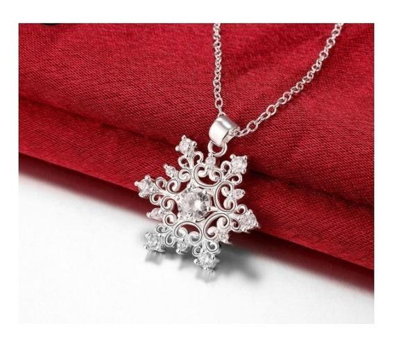 Collar De Plata Dama Hermoso Copo De Nieve Envío Gratis