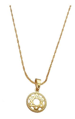 Imagem 1 de 6 de Pingente Estrela De Davi  Gargantilha Banhada Ouro. C1p290