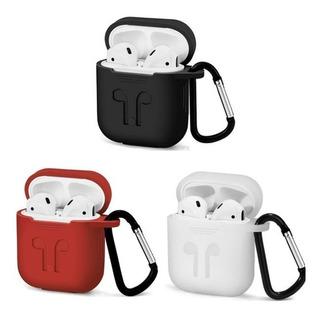 Capa Porta Fone Apple Airpod Silicone Estojo +mosquetão