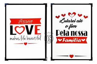 2 Placa Love Familia Amor Frases Quadro Metal Decorativa