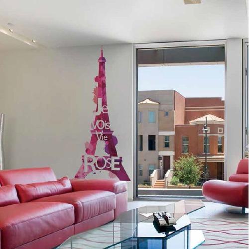 Vinilo Sticker Adhesivo Decorativo Eiffel Rose / Contact