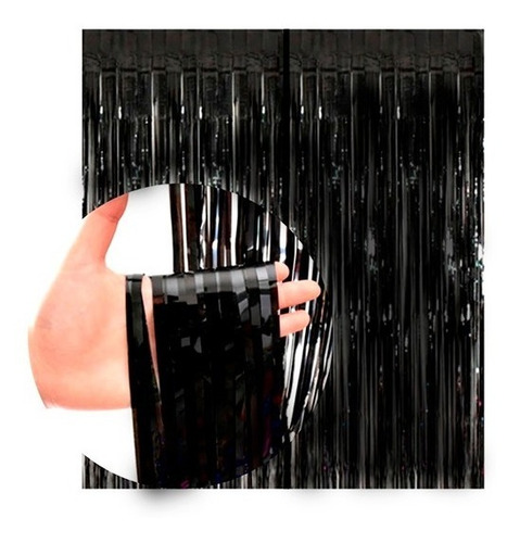 Cortina Negra Metalizada Lluvia Fondo Cumpleaños Deco